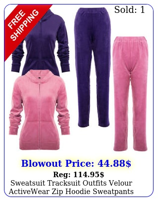 sweatsuit tracksuit outfits velour activewear zip hoodie sweatpants sweatshirt