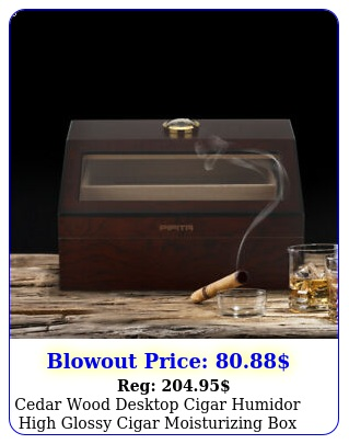 cedar wood desktop cigar humidor high glossy cigar moisturizing glass to