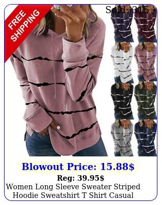 women long sleeve sweater striped hoodie sweatshirt t shirt casual loose top