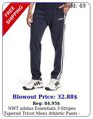 nwt adidas essentials stripes tapered tricot mens athletic pants blu