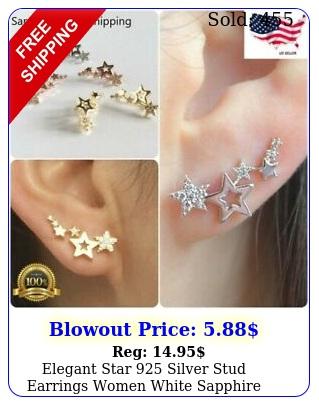 elegant star silver stud earrings women white sapphire jewelry a pairse
