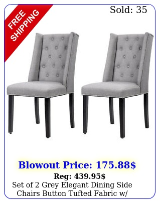 set of grey elegant dining side chairs button tufted fabric w nailhead f