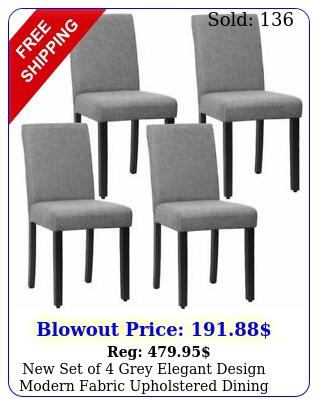 set of grey elegant design modern fabric upholstered dining chairs