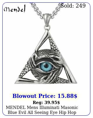 mendel mens illuminati masonic blue evil all seeing eye hip hop pendant necklac