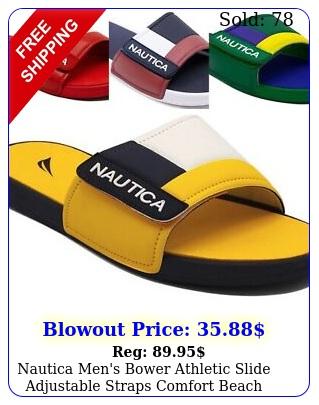 nautica men's bower athletic slide adjustable straps comfort beach pool sanda