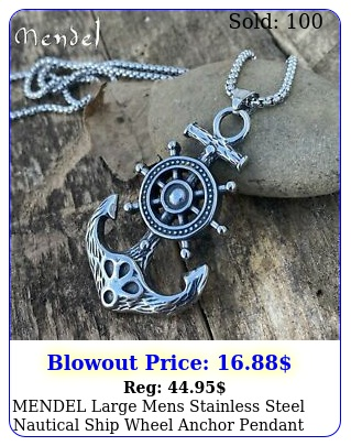 mendel large mens stainless steel nautical ship wheel anchor pendant necklac