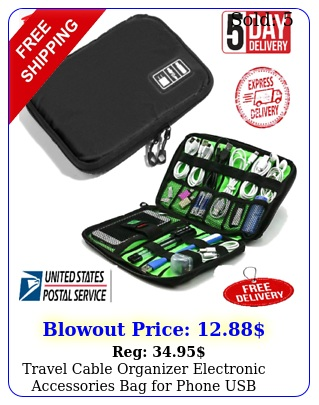 travel cable organizer electronic accessories bag phone usb cable black u
