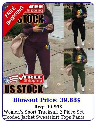 women's sport tracksuit piece set hooded jacket sweatshirt tops pants set sui