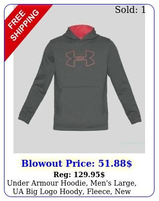 under armour hoodie men's large ua big logo hoody fleece with tag