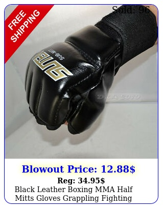 black leather boxing mma half mitts gloves grappling fighting punch bag trainin