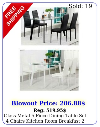 glass metal piece dining table set chairs kitchen room breakfast colors u