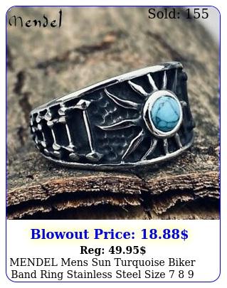 mendel mens sun turquoise biker band ring stainless steel size