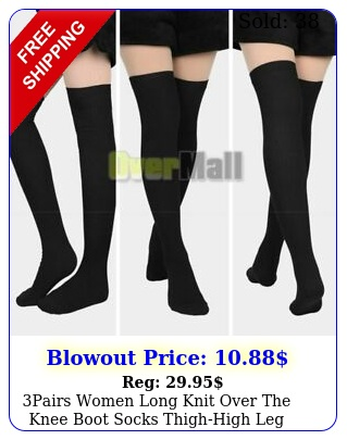 pairs women long knit over the knee boot socks thighhigh leg warmers stockin