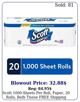 scott sheets roll paper rolls bath tissue free shippin