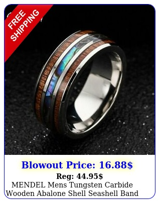 mendel mens tungsten carbide wooden abalone shell seashell band ring size