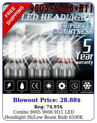 combo  h led headlight hilow beam bulb k w lm fog lig