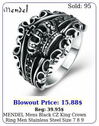 mendel mens black cz king crown ring men stainless steel size