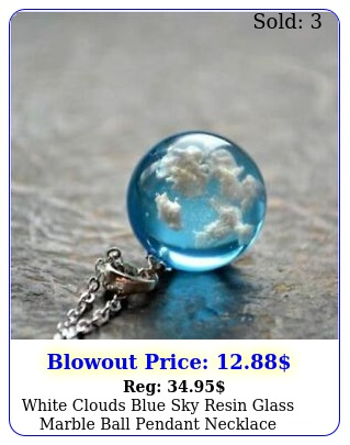 white clouds blue sky resin glass marble ball pendant necklace terrariu