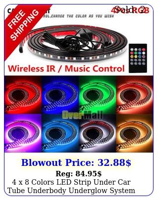 x colors led strip under car tube underbody underglow system neon lights ki