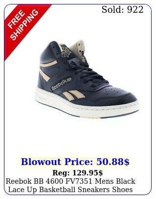reebok bb fv mens black lace up basketball sneakers shoe