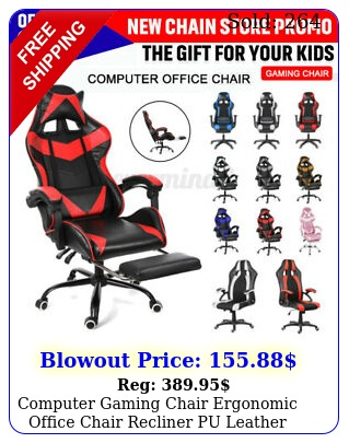 computer gaming chair ergonomic office chair recliner pu leather footrest swive