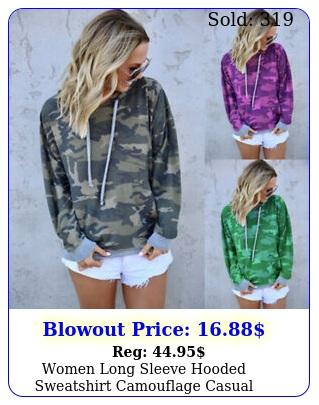 women long sleeve hooded sweatshirt camouflage casual hoodies top loose pullove