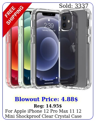 apple iphone pro max  mini shockproof clear crystal case phone cove