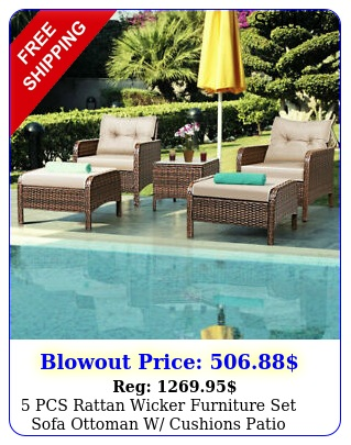 pcs rattan wicker furniture set sofa ottoman w cushions patio garden yar