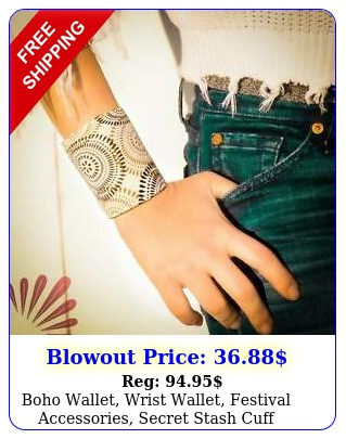 boho wallet wrist wallet festival accessories secret stash cuf