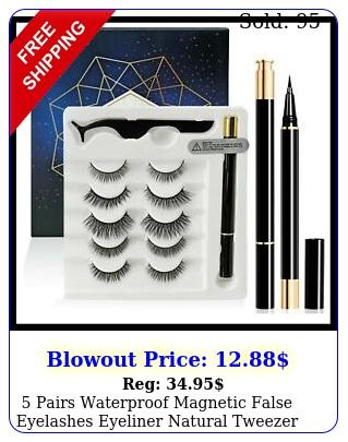 pairs waterproof magnetic false eyelashes eyeliner natural tweezer long lashe