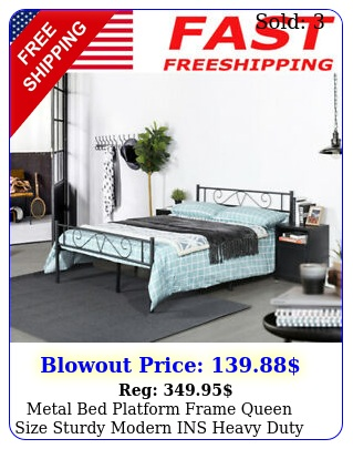 metal bed platform frame queen size sturdy modern ins heavy duty with footboar