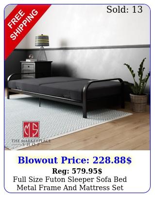 full size futon sleeper sofa bed metal frame mattress set convertible couc
