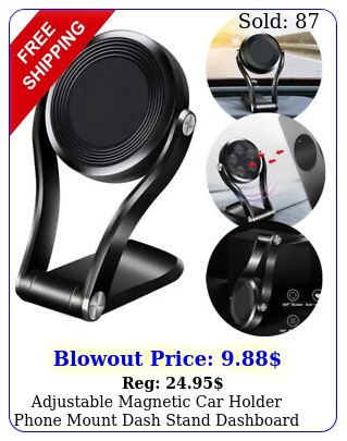 adjustable magnetic car holder phone mount dash stand dashboard gps rotatio