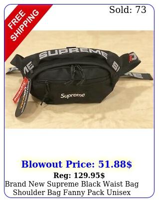 brand supreme black waist bag shoulder bag fanny pack unise