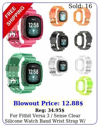 fitbit versa  sense clear silicone watch band wrist strap w bumper cas