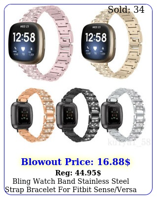 bling watch band stainless steel strap bracelet fitbit senseversa band