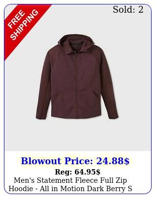 men's statement fleece full zip hoodie all in motion dark berry