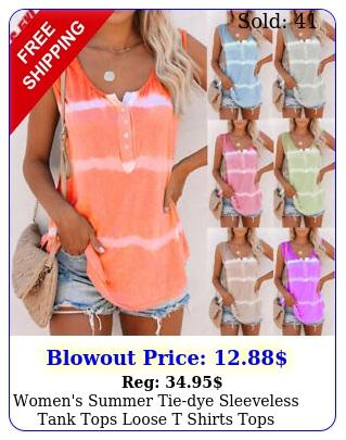 women's summer tiedye sleeveless tank tops loose t shirts tops blouse plus siz