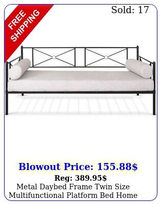 metal daybed frame twin size multifunctional platform bed home steel slat