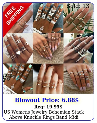 us womens jewelry bohemian stack above knuckle rings band midi finger ring se