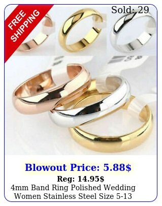 mm band ring polished wedding women stainless steel size engagement part