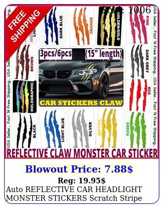 auto reflective car headlight monster stickers scratch stripe claw vinyl decal