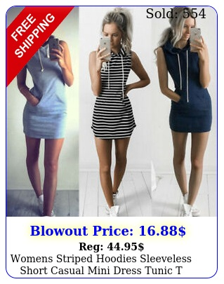 womens striped hoodies sleeveless short casual mini dress tunic t shirt sundres