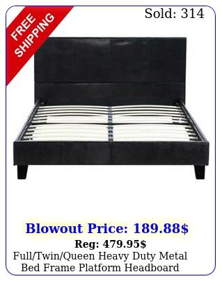 fulltwinqueen heavy duty metal bed frame platform headboard footboar