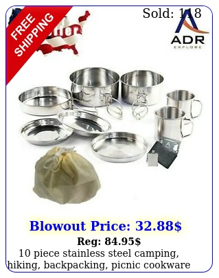 piece stainless steel camping hiking backpacking picnic cookware se