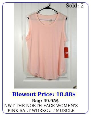 nwt the north face women's pink salt workout muscle tank top t shirt sz m