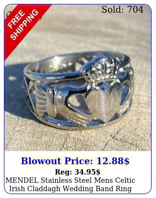mendel stainless steel mens celtic irish claddagh wedding band ring siz