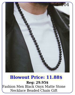 fashion men black onyx matte stone necklace beaded chain gift bracelets jewelr