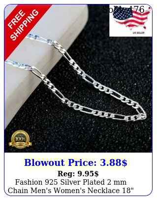 fashion silver plated mm chain men's women's necklace