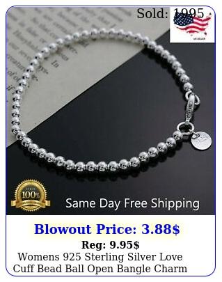 womens sterling silver love cuff bead ball open bangle charm bracele